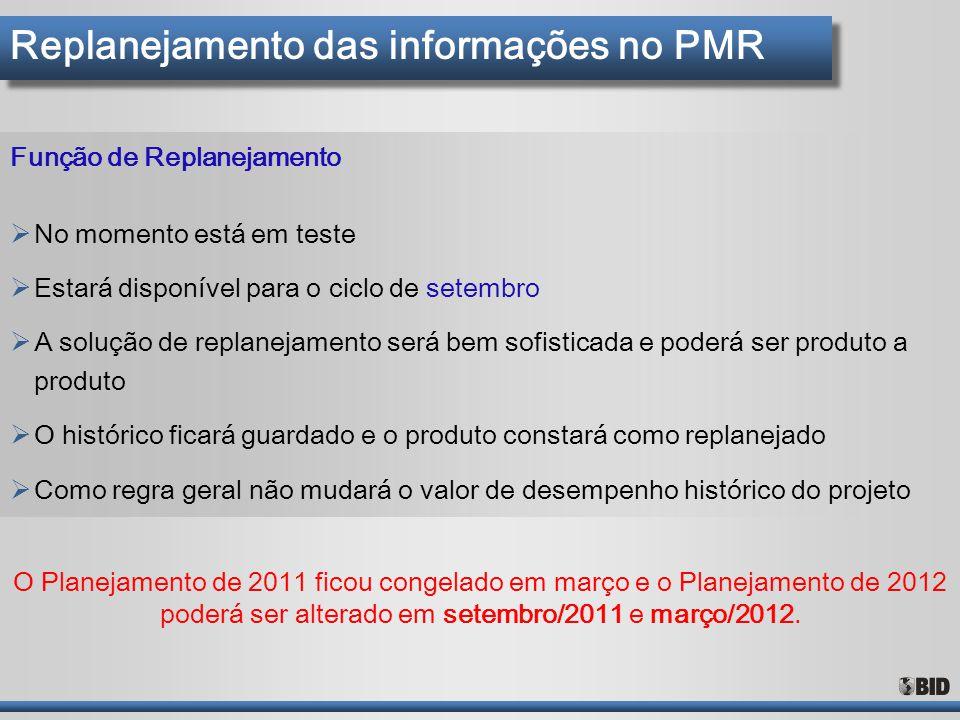 Replanejamento das informações no PMR