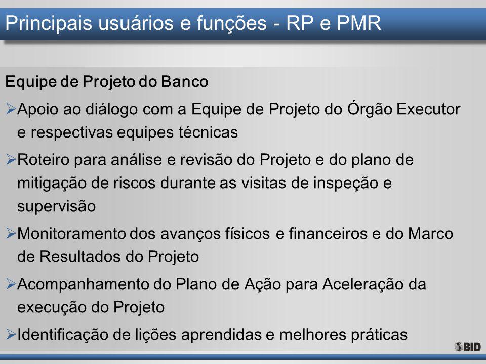 Principais usuários e funções - RP e PMR