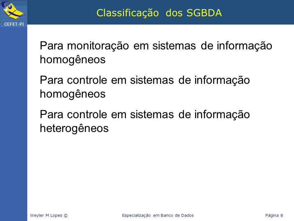 Classificação dos SGBDA