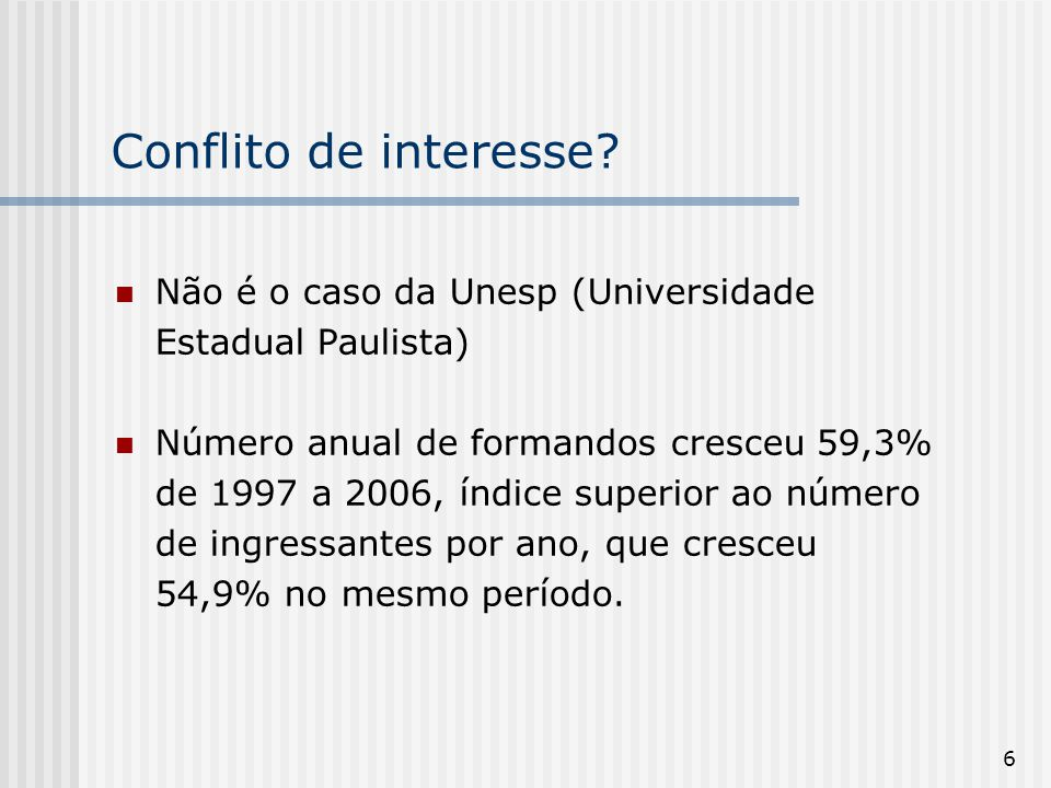 Conflito de interesse Não é o caso da Unesp (Universidade Estadual Paulista)