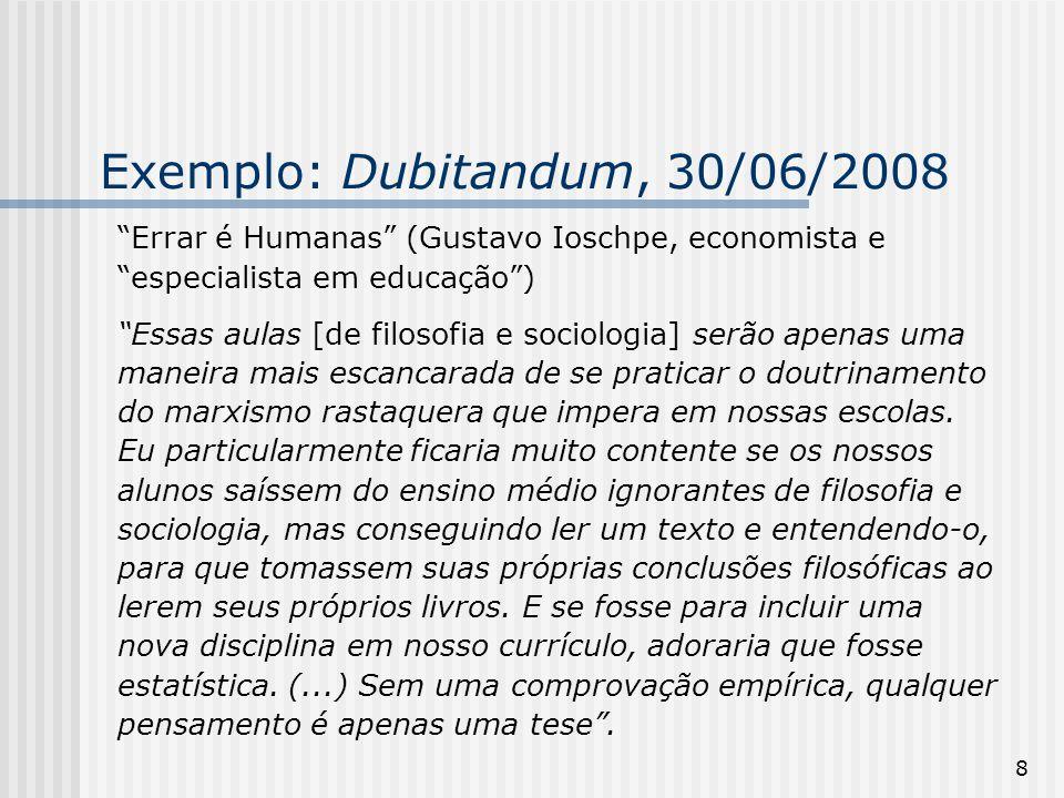 Exemplo: Dubitandum, 30/06/2008