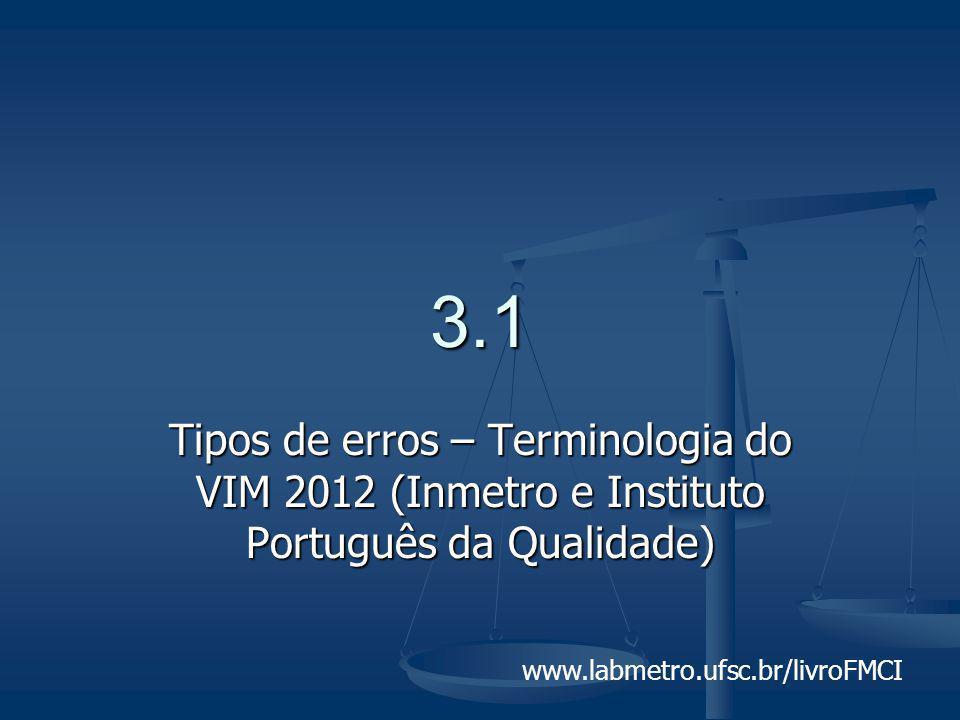 3.1 Tipos de erros – Terminologia do VIM 2012 (Inmetro e Instituto Português da Qualidade)