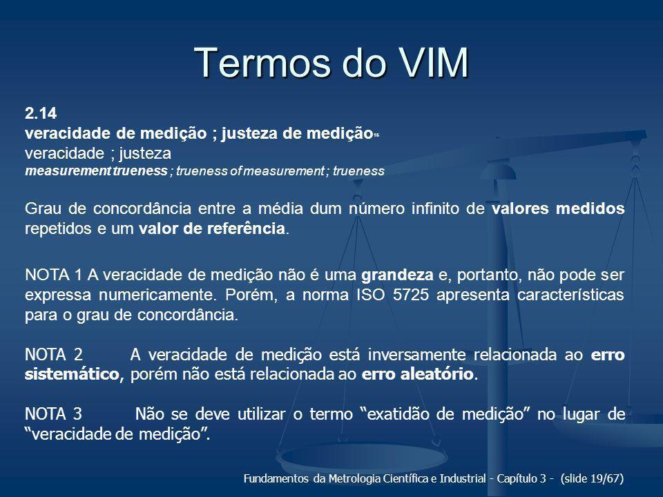 Termos do VIM 2.14 veracidade de medição ; justeza de medição15