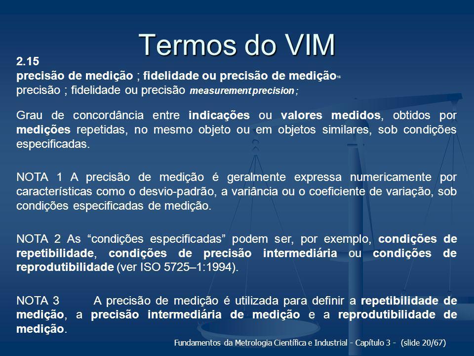 Termos do VIM 2.15. precisão de medição ; fidelidade ou precisão de medição16. precisão ; fidelidade ou precisão measurement precision ;