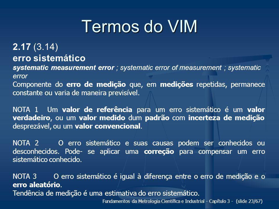 Termos do VIM 2.17 (3.14) erro sistemático