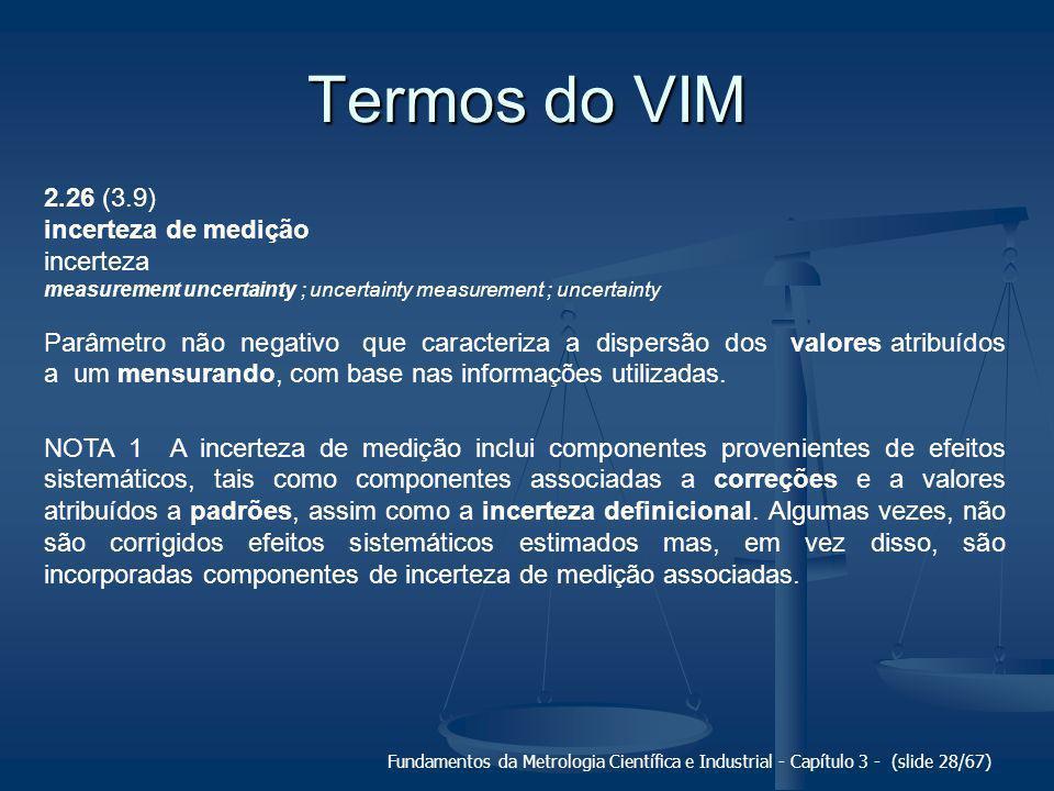 Termos do VIM 2.26 (3.9) incerteza de medição incerteza