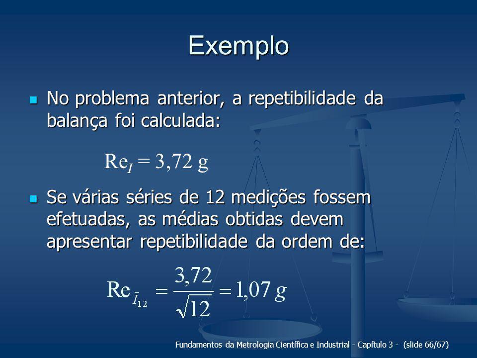 Exemplo No problema anterior, a repetibilidade da balança foi calculada: