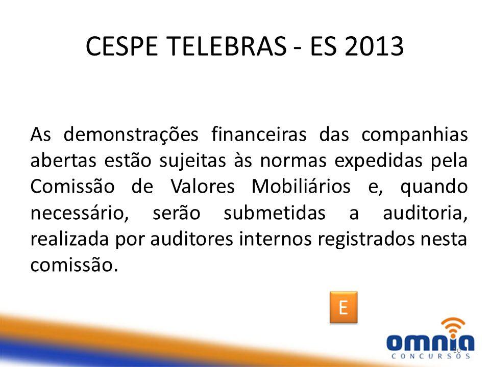 CESPE TELEBRAS - ES 2013
