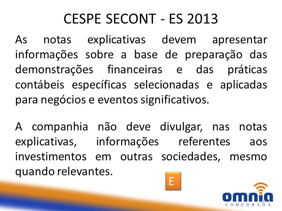 CESPE SECONT - ES 2013