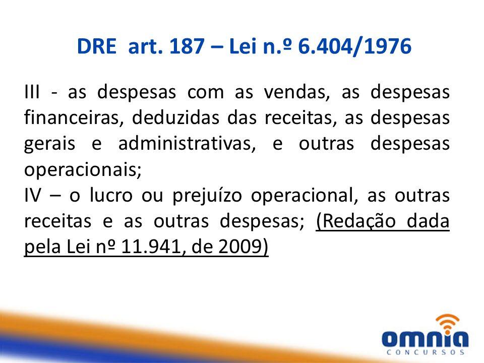 DRE art. 187 – Lei n.º 6.404/1976