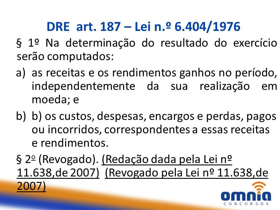 DRE art. 187 – Lei n.º 6.404/1976 § 1º Na determinação do resultado do exercício serão computados: