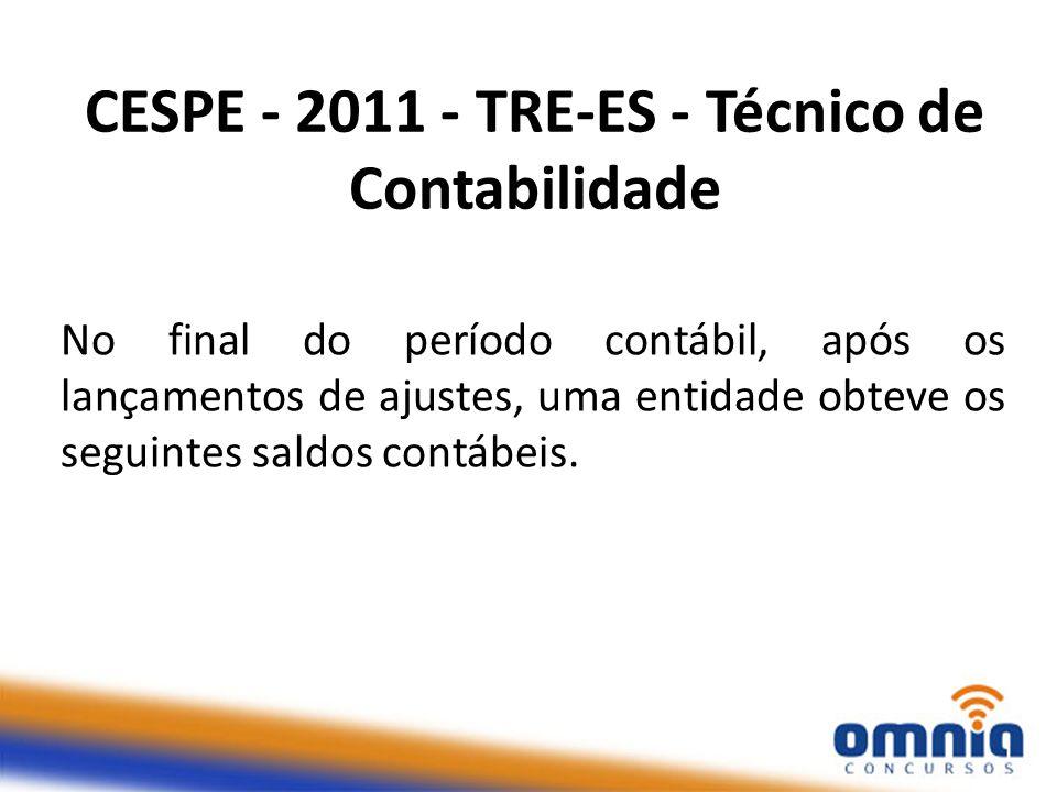 CESPE - 2011 - TRE-ES - Técnico de Contabilidade