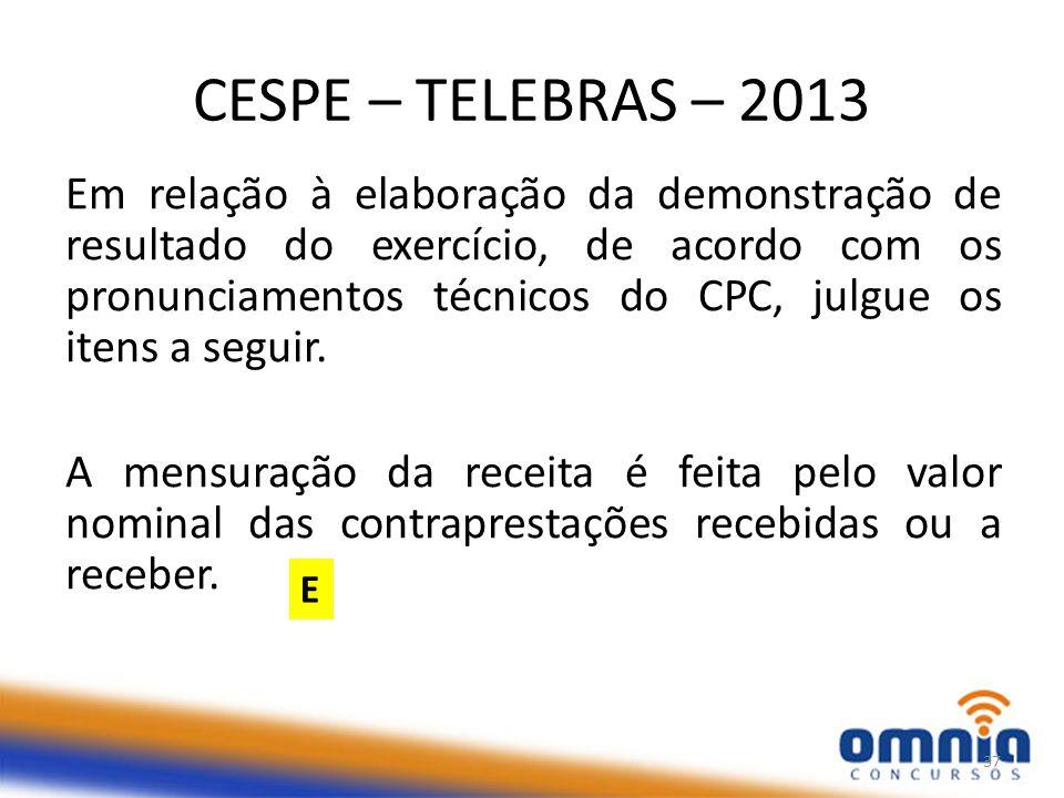 CESPE – TELEBRAS – 2013