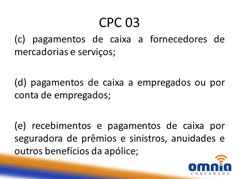 CPC 03 (c) pagamentos de caixa a fornecedores de mercadorias e serviços; (d) pagamentos de caixa a empregados ou por conta de empregados;