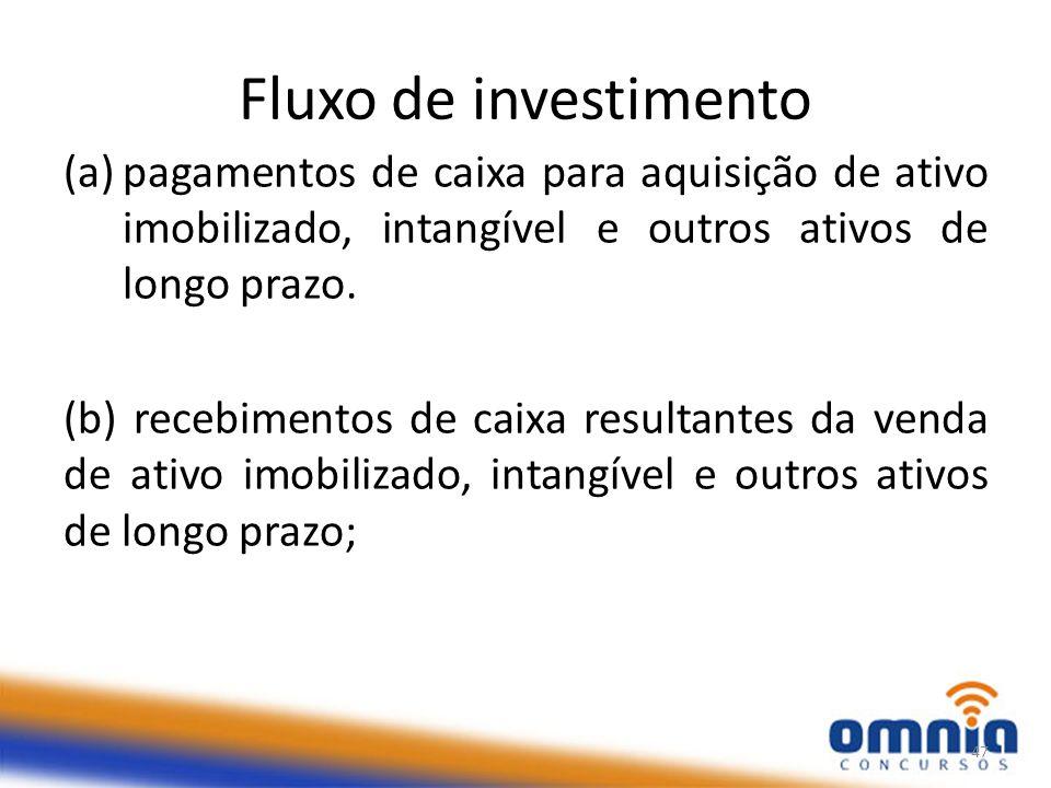 Fluxo de investimento pagamentos de caixa para aquisição de ativo imobilizado, intangível e outros ativos de longo prazo.