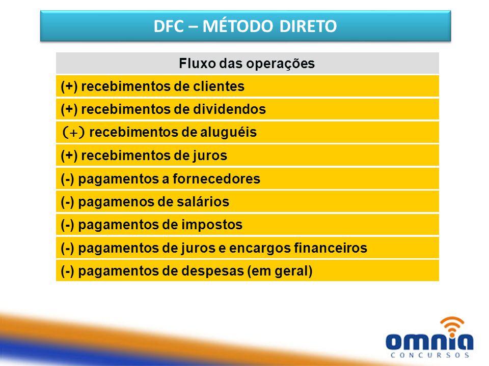DFC – MÉTODO DIRETO Fluxo das operações (+) recebimentos de clientes