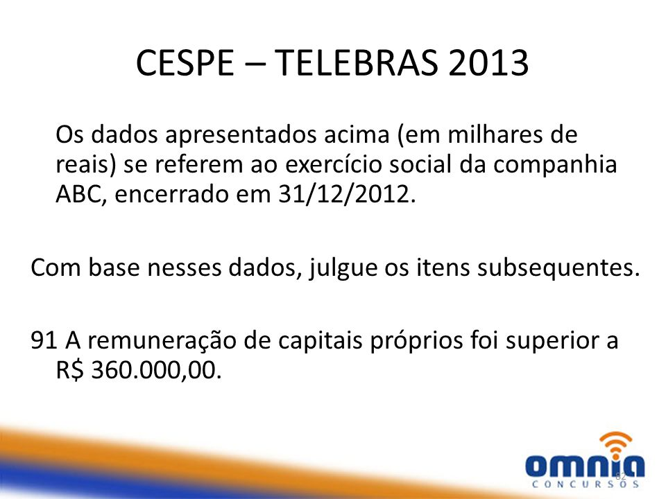 CESPE – TELEBRAS 2013