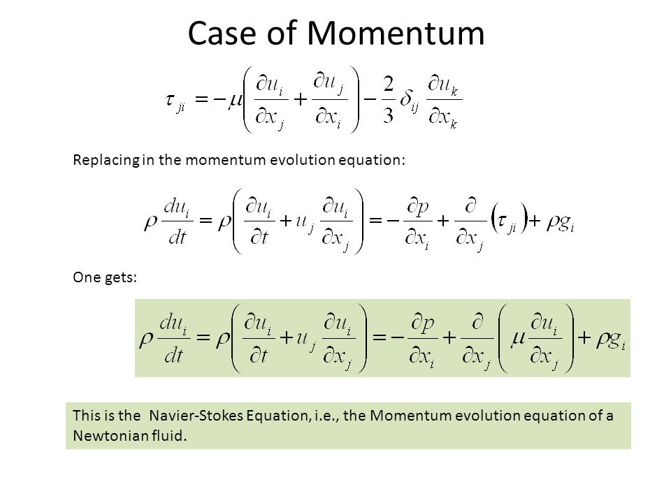Case of Momentum Replacing in the momentum evolution equation: