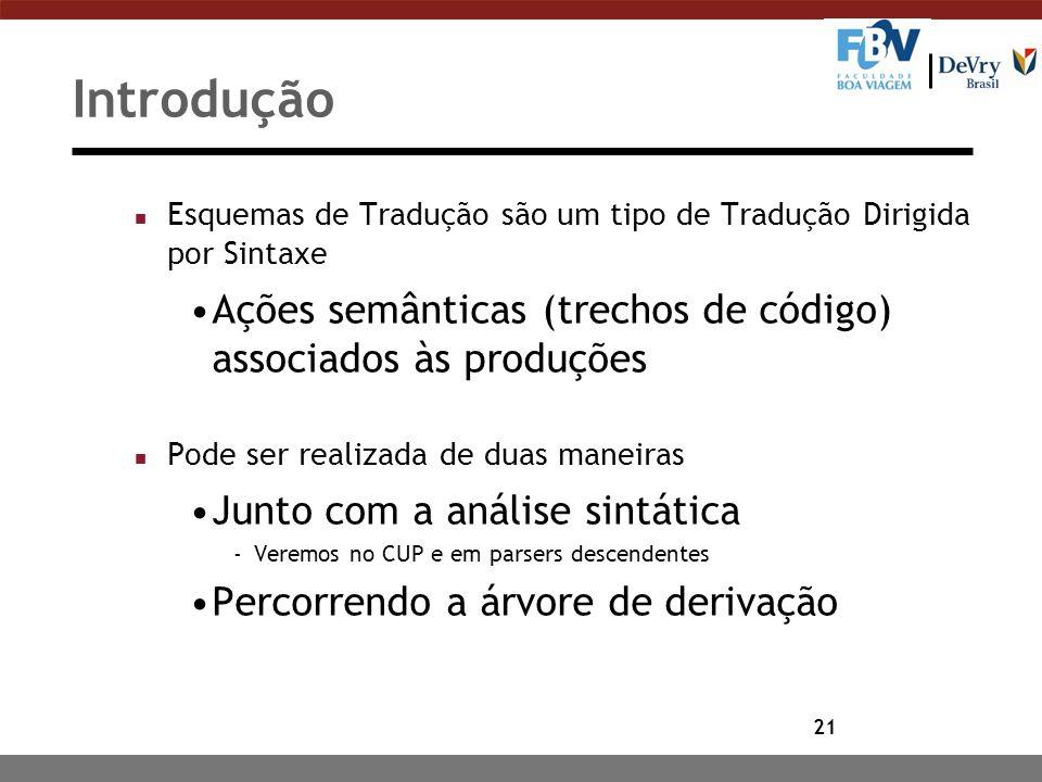Introdução Esquemas de Tradução são um tipo de Tradução Dirigida por Sintaxe. Ações semânticas (trechos de código) associados às produções.
