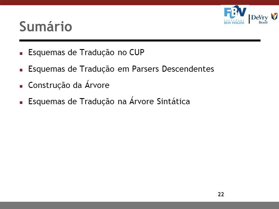Sumário Esquemas de Tradução no CUP