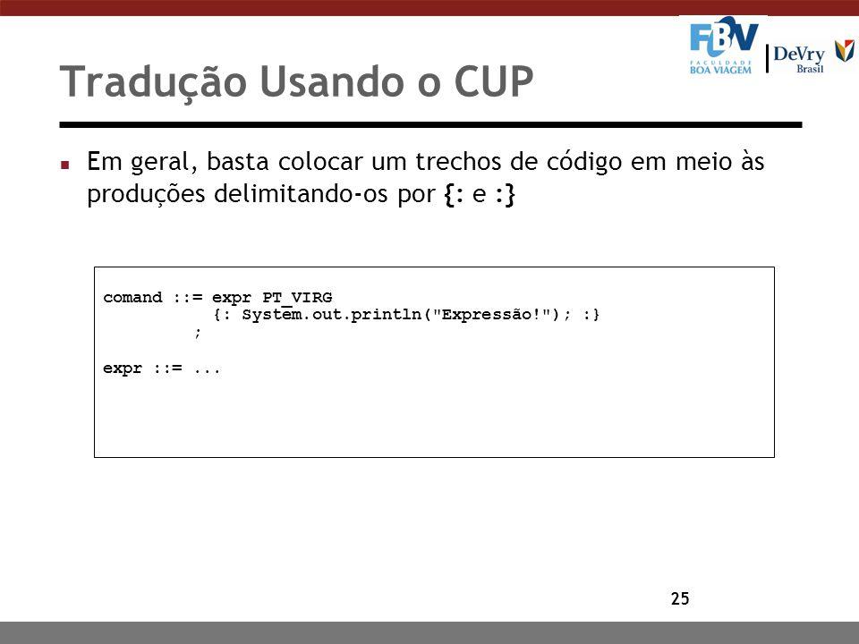 Tradução Usando o CUP Em geral, basta colocar um trechos de código em meio às produções delimitando-os por {: e :}