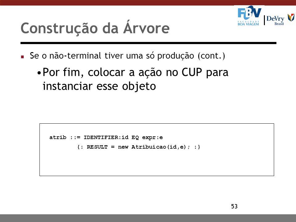 Construção da Árvore Se o não-terminal tiver uma só produção (cont.) Por fim, colocar a ação no CUP para instanciar esse objeto.