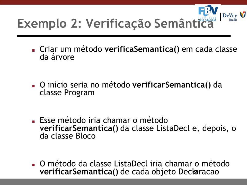 Exemplo 2: Verificação Semântica