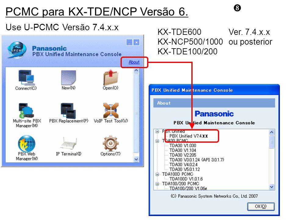 PCMC para KX-TDE/NCP Versão 6.