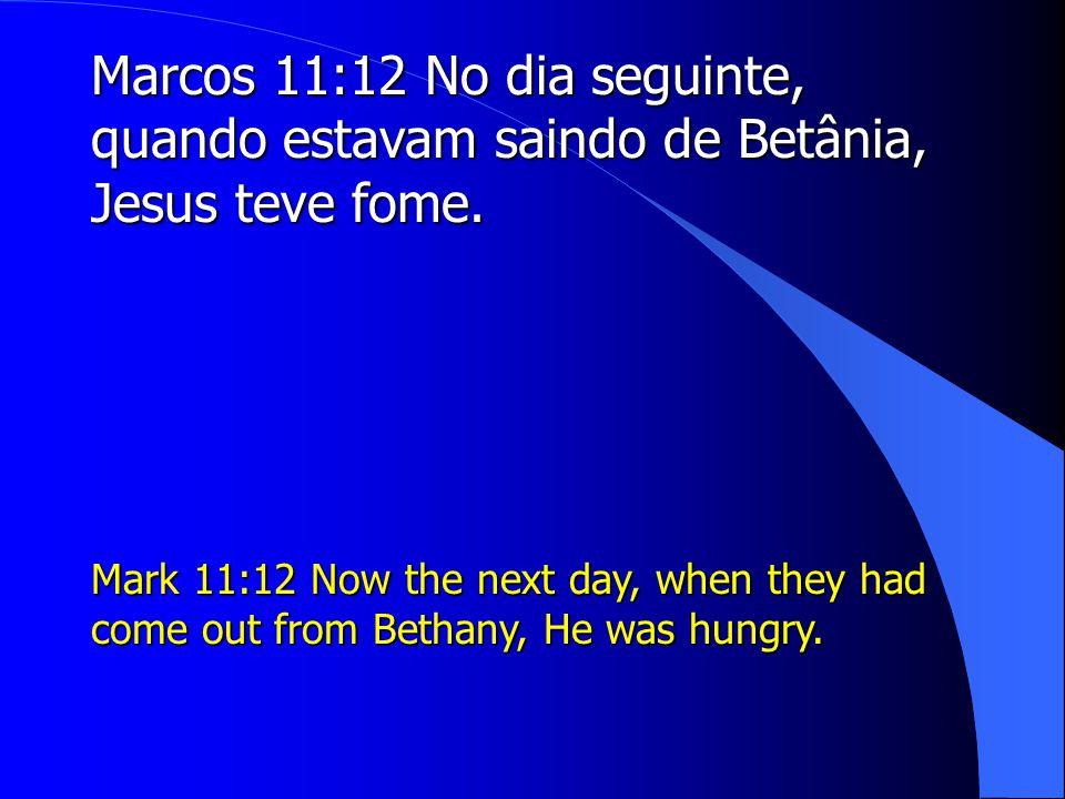 Marcos 11:12 No dia seguinte, quando estavam saindo de Betânia, Jesus teve fome.