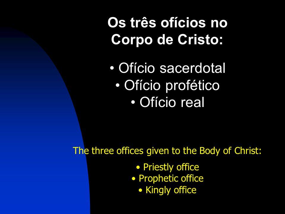 Os três ofícios no Corpo de Cristo: