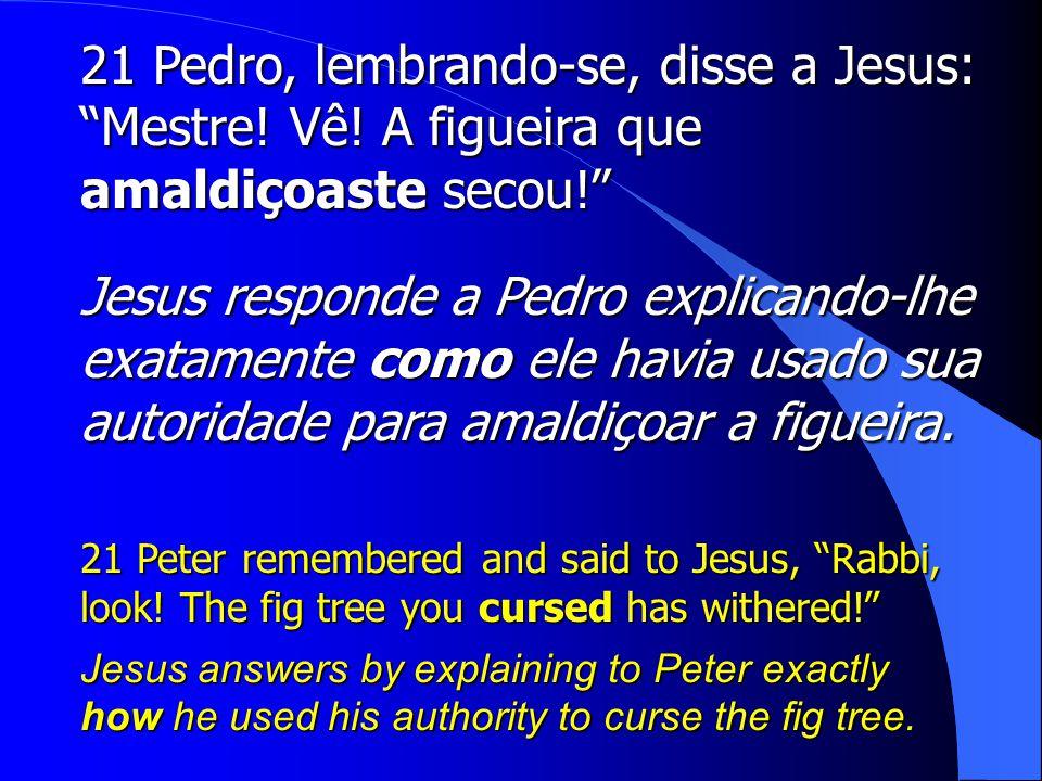 21 Pedro, lembrando-se, disse a Jesus: Mestre. Vê