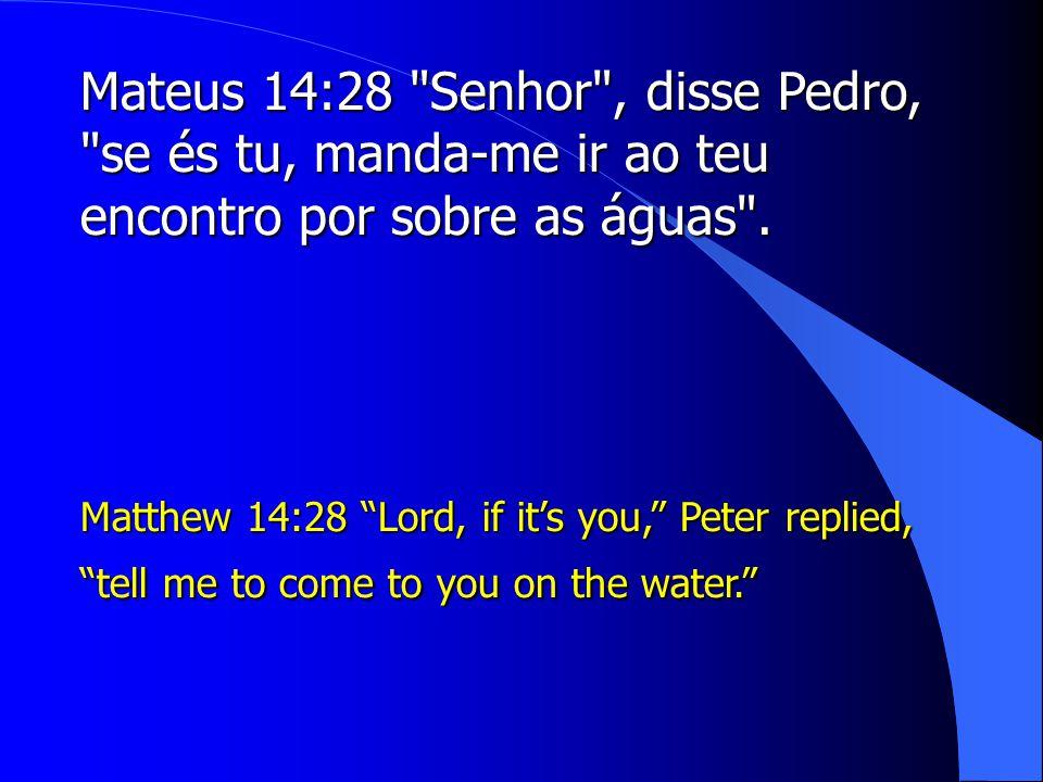 Mateus 14:28 Senhor , disse Pedro, se és tu, manda-me ir ao teu encontro por sobre as águas .