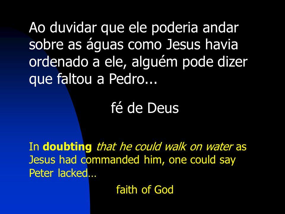Ao duvidar que ele poderia andar sobre as águas como Jesus havia ordenado a ele, alguém pode dizer que faltou a Pedro...