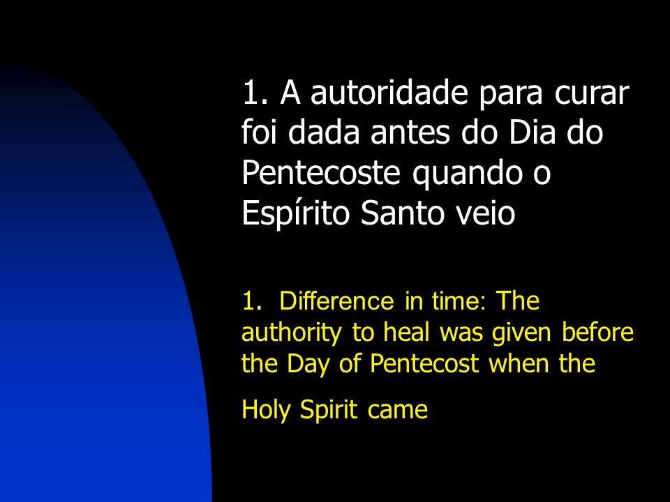 1. A autoridade para curar foi dada antes do Dia do Pentecoste quando o Espírito Santo veio