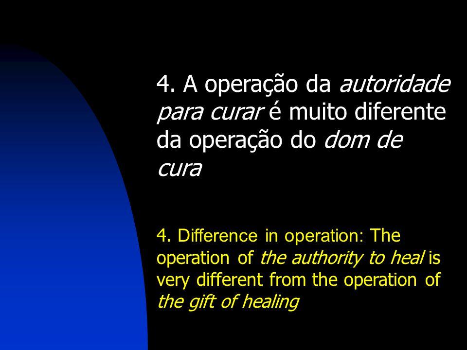 4. A operação da autoridade para curar é muito diferente da operação do dom de cura