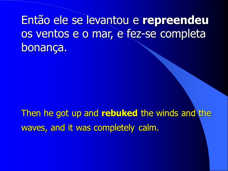 Então ele se levantou e repreendeu os ventos e o mar, e fez-se completa bonança.