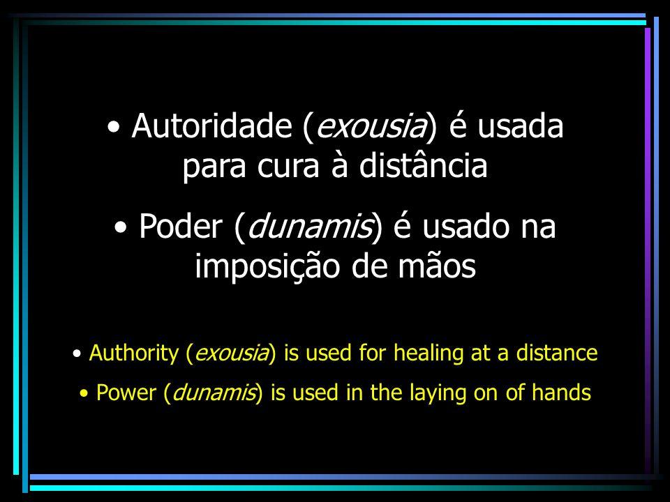 Autoridade (exousia) é usada para cura à distância