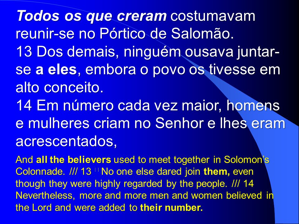 Todos os que creram costumavam reunir-se no Pórtico de Salomão.