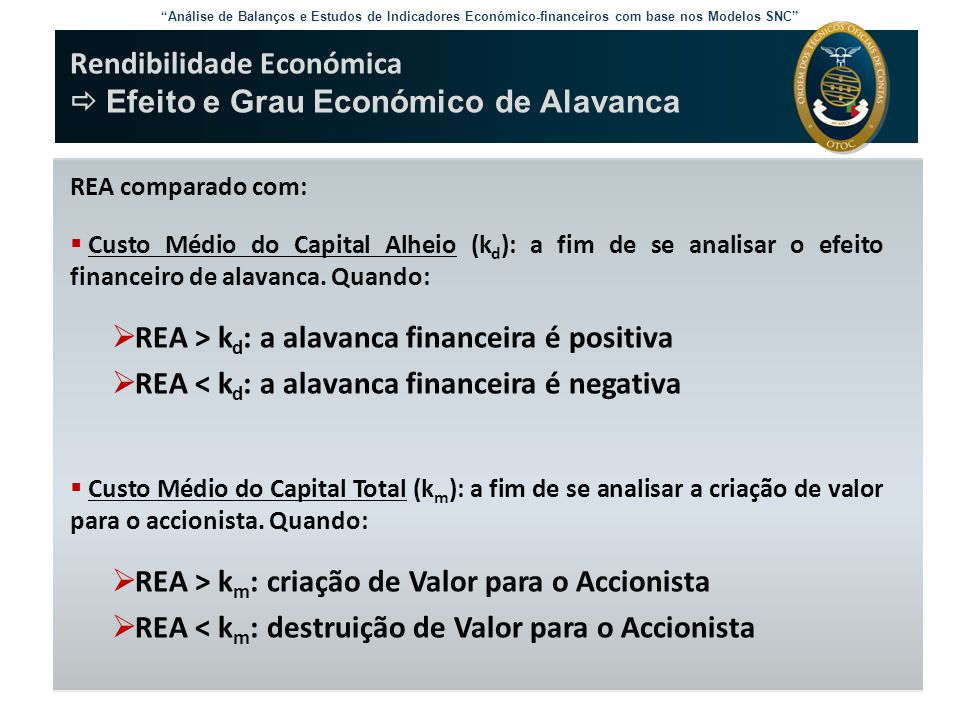Rendibilidade Económica  Efeito e Grau Económico de Alavanca