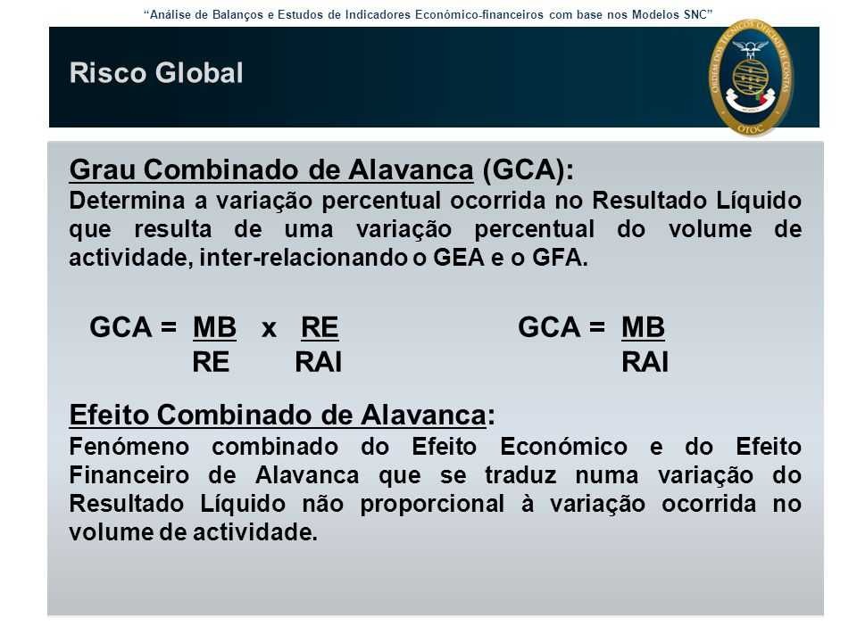 Grau Combinado de Alavanca (GCA):
