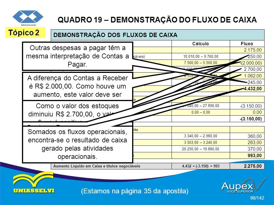 QUADRO 19 – DEMONSTRAÇÃO DO FLUXO DE CAIXA
