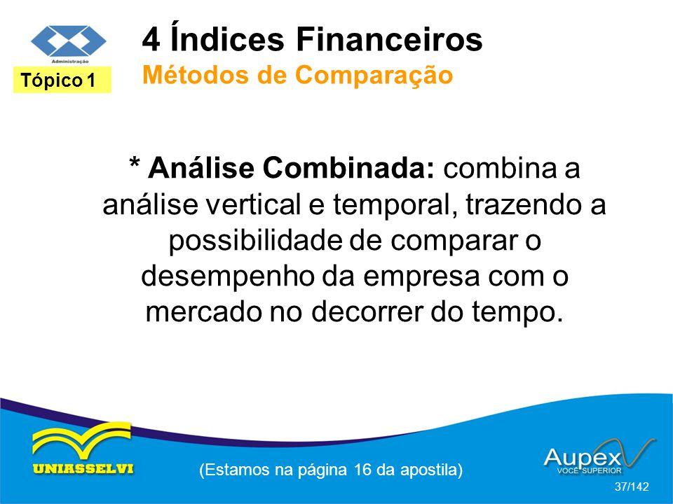 4 Índices Financeiros Métodos de Comparação