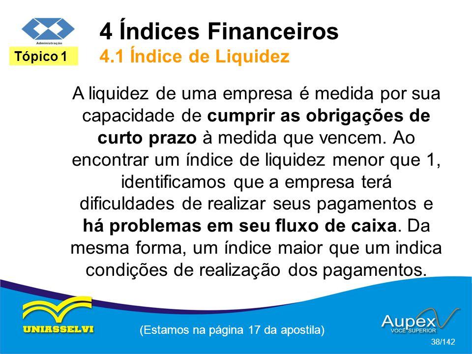 4 Índices Financeiros 4.1 Índice de Liquidez
