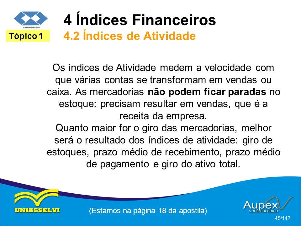 4 Índices Financeiros 4.2 Índices de Atividade