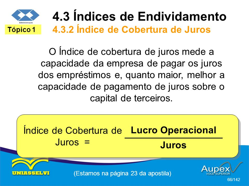 4.3 Índices de Endividamento 4.3.2 Índice de Cobertura de Juros