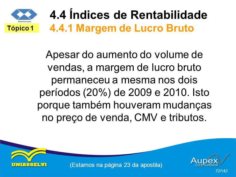 4.4 Índices de Rentabilidade 4.4.1 Margem de Lucro Bruto