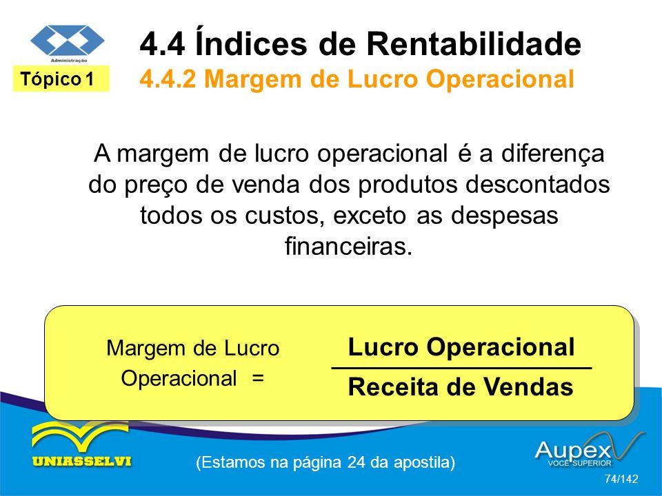 4.4 Índices de Rentabilidade 4.4.2 Margem de Lucro Operacional