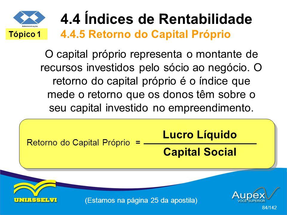 4.4 Índices de Rentabilidade 4.4.5 Retorno do Capital Próprio
