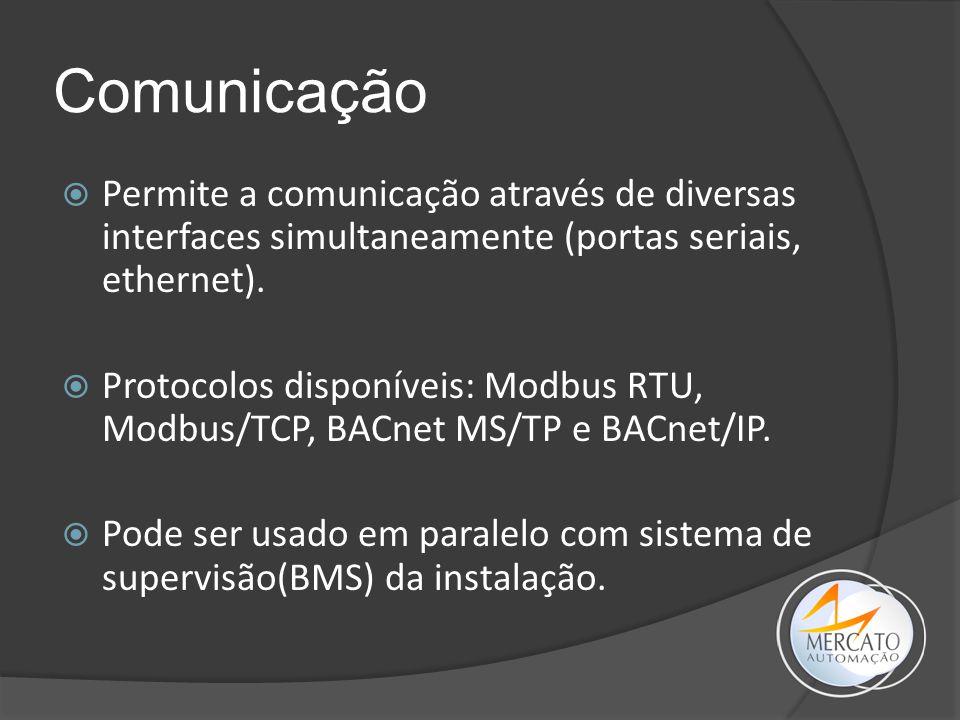 Comunicação Permite a comunicação através de diversas interfaces simultaneamente (portas seriais, ethernet).