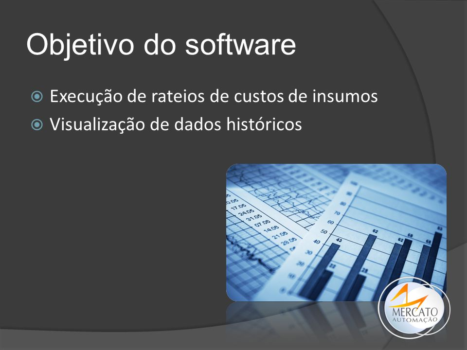 Objetivo do software Execução de rateios de custos de insumos